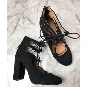 Yoki • NWOT Black Suede Veruca Lace Up Heels